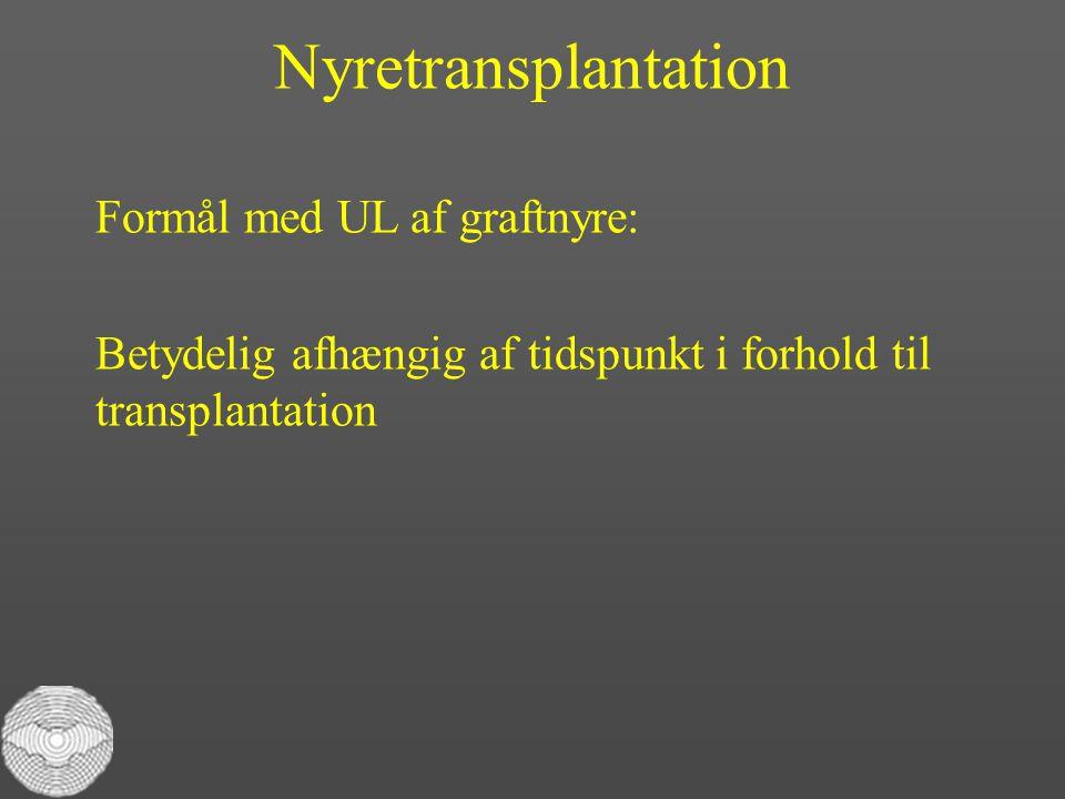 Nyretransplantation Formål med UL af graftnyre: