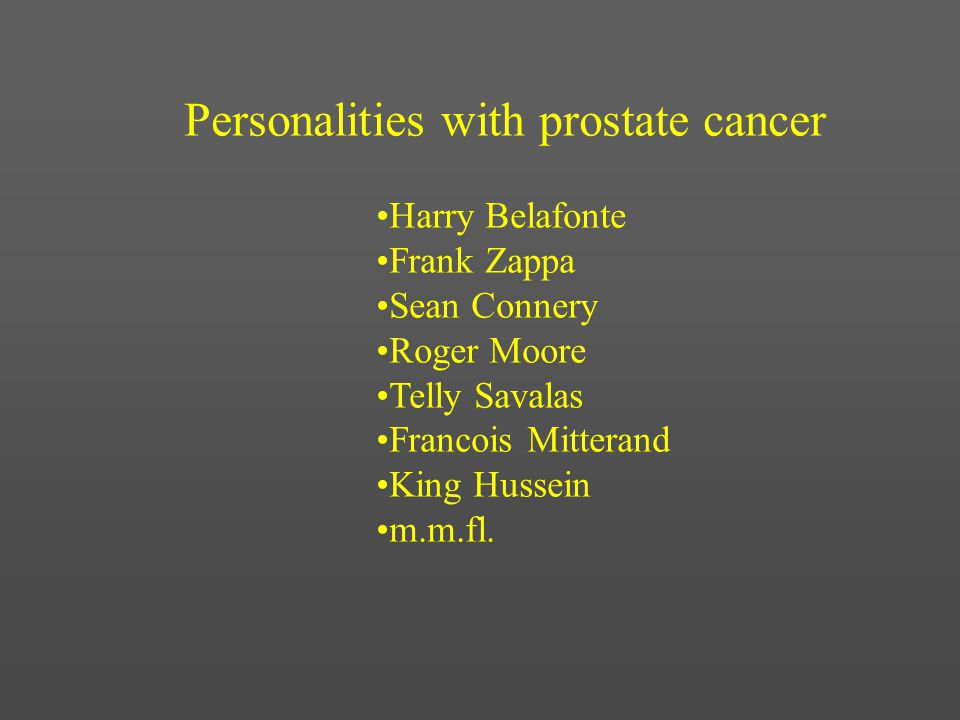 Personalities with prostate cancer