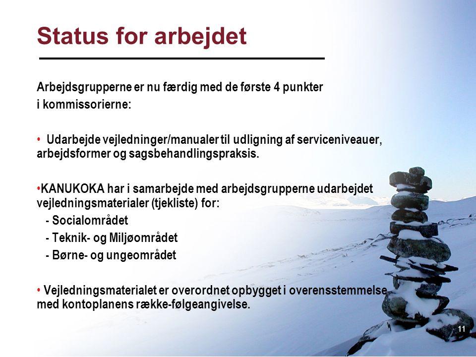Status for arbejdet Arbejdsgrupperne er nu færdig med de første 4 punkter. i kommissorierne: