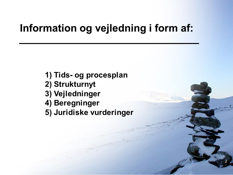 Information og vejledning i form af: