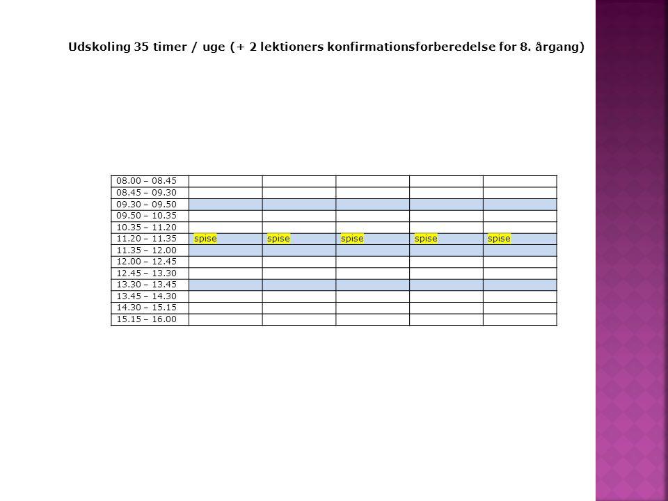 Udskoling 35 timer / uge (+ 2 lektioners konfirmationsforberedelse for 8. årgang)