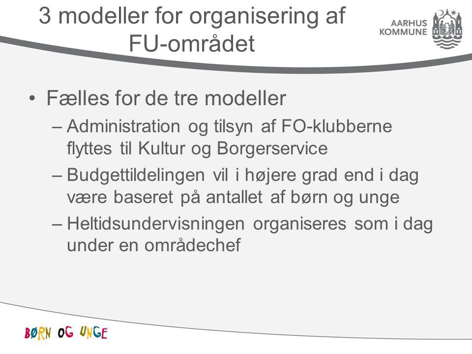 3 modeller for organisering af FU-området