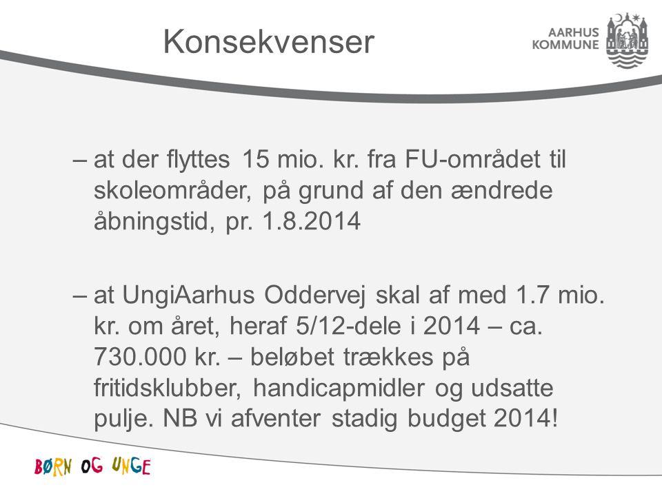 Konsekvenser at der flyttes 15 mio. kr. fra FU-området til skoleområder, på grund af den ændrede åbningstid, pr. 1.8.2014.
