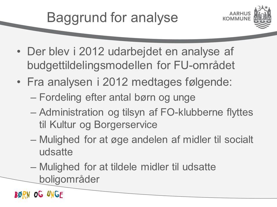 Baggrund for analyse Der blev i 2012 udarbejdet en analyse af budgettildelingsmodellen for FU-området.