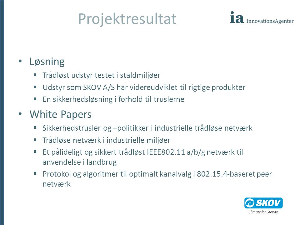 Projektresultat Løsning White Papers
