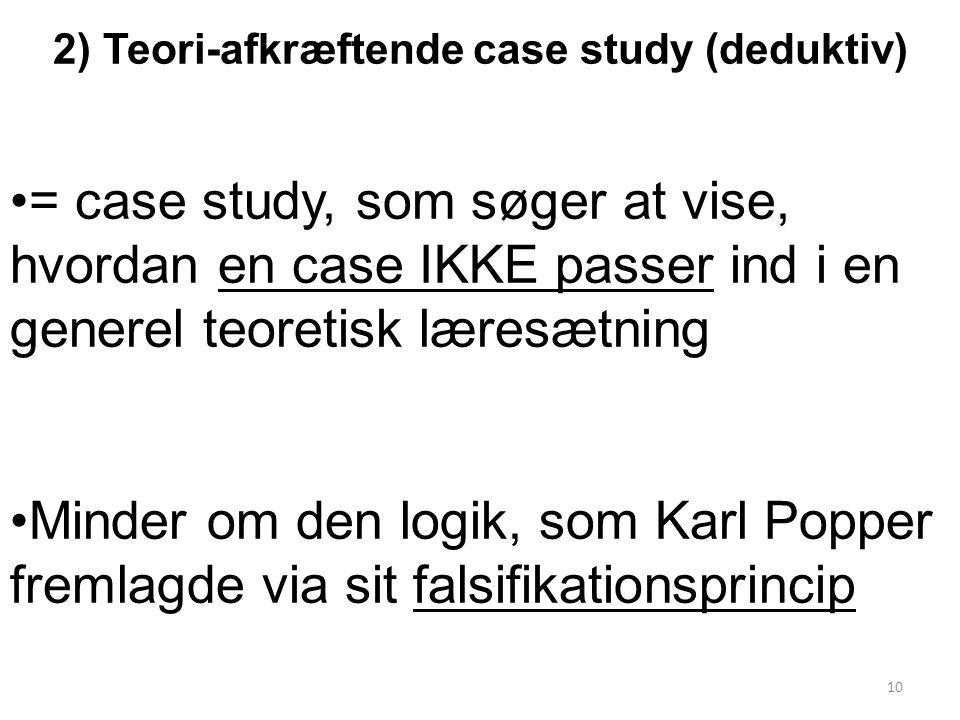 2) Teori-afkræftende case study (deduktiv)