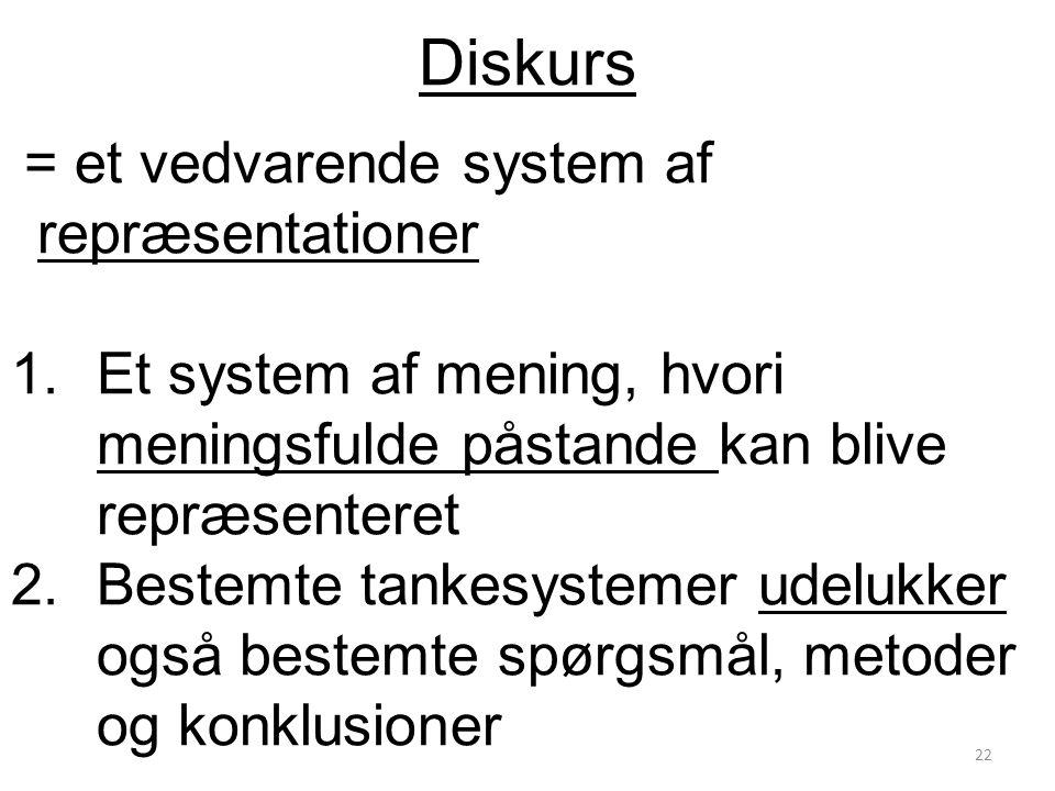 Diskurs = et vedvarende system af repræsentationer. Et system af mening, hvori meningsfulde påstande kan blive repræsenteret.