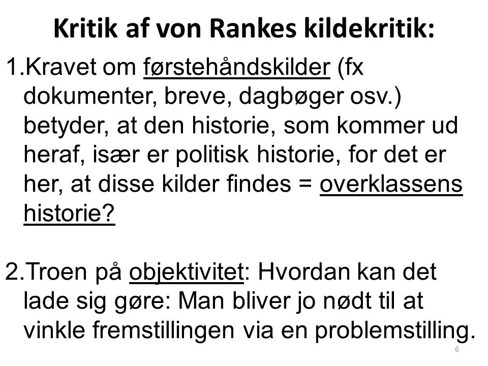Kritik af von Rankes kildekritik: