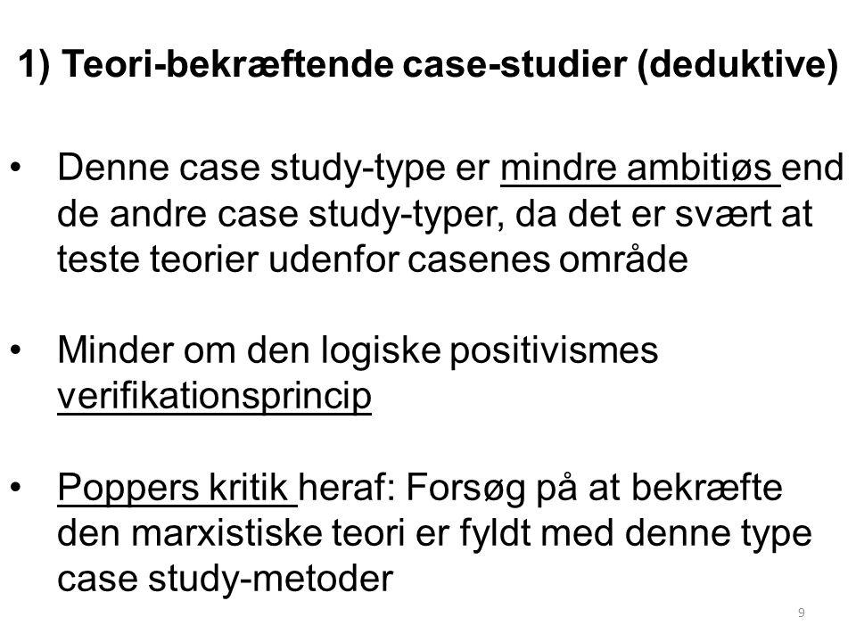1) Teori-bekræftende case-studier (deduktive)