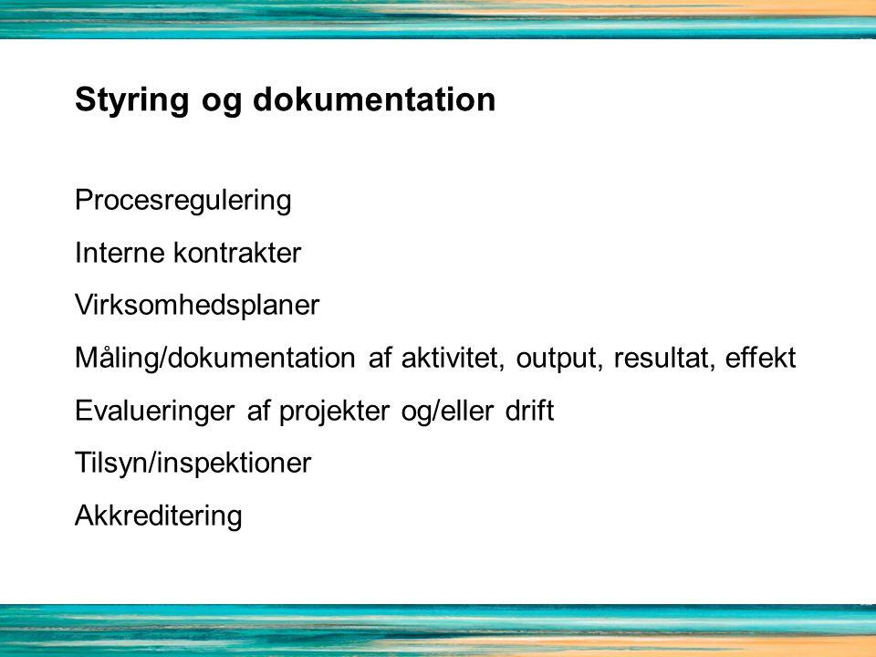 Styring og dokumentation