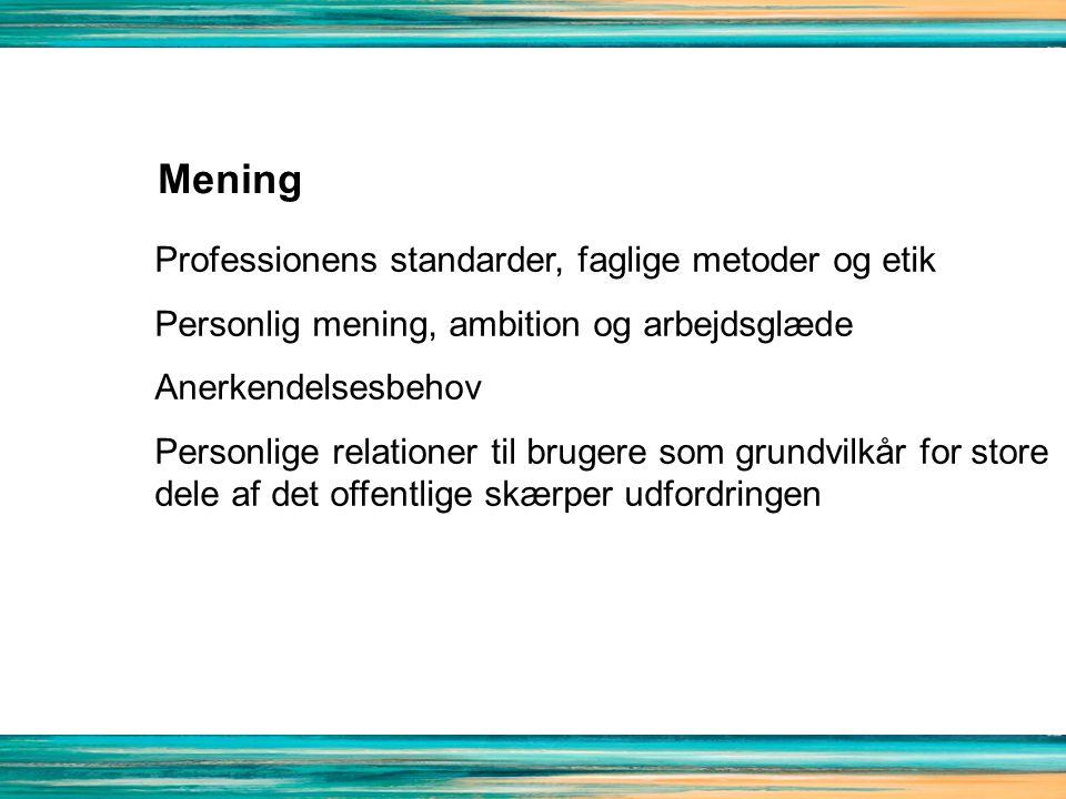 Mening Professionens standarder, faglige metoder og etik