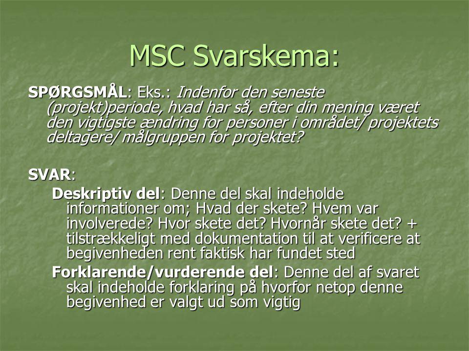 MSC Svarskema: