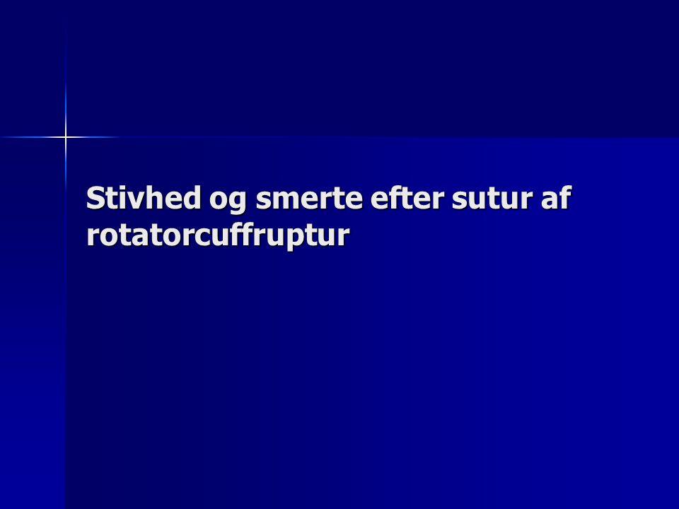 Stivhed og smerte efter sutur af rotatorcuffruptur