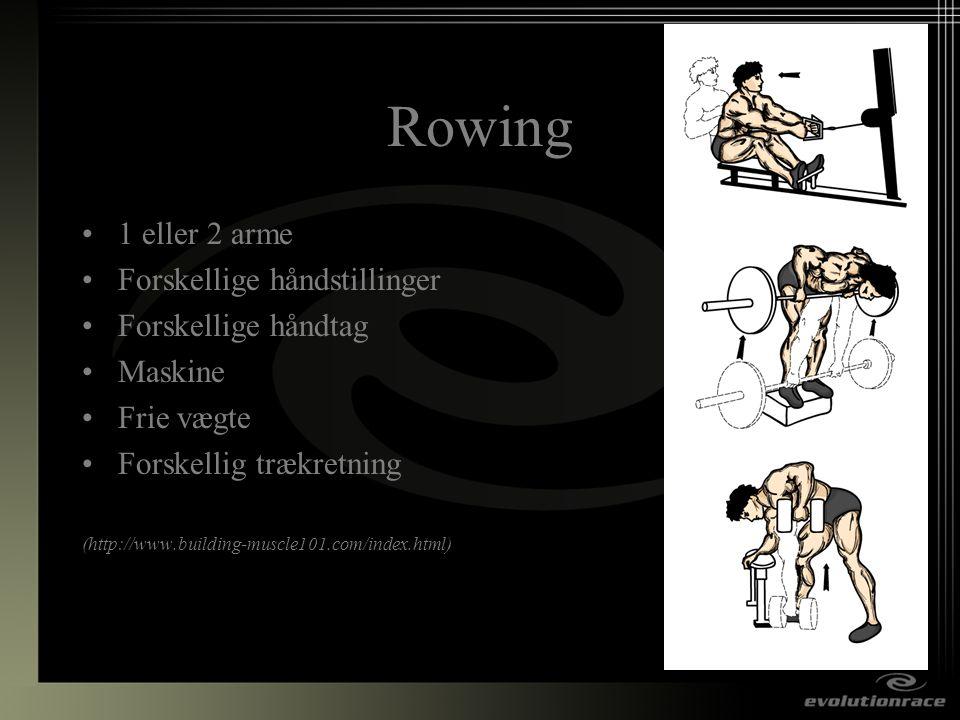 Rowing 1 eller 2 arme Forskellige håndstillinger Forskellige håndtag