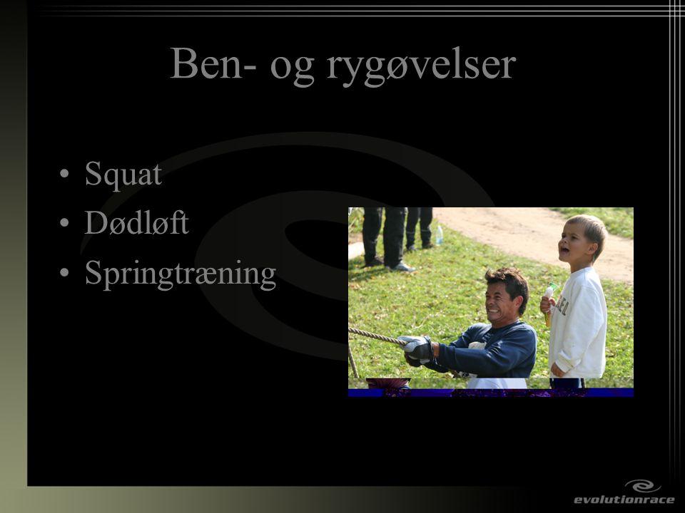 Ben- og rygøvelser Squat Dødløft Springtræning