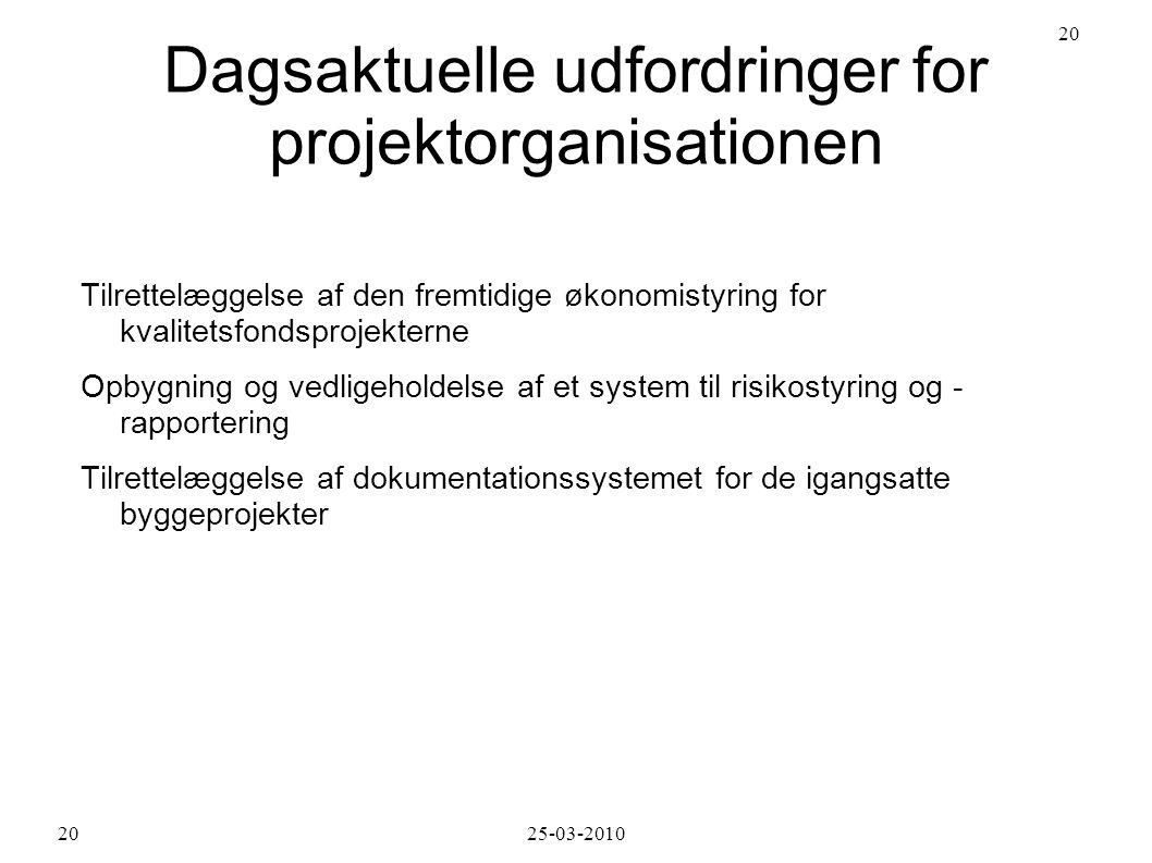 Dagsaktuelle udfordringer for projektorganisationen