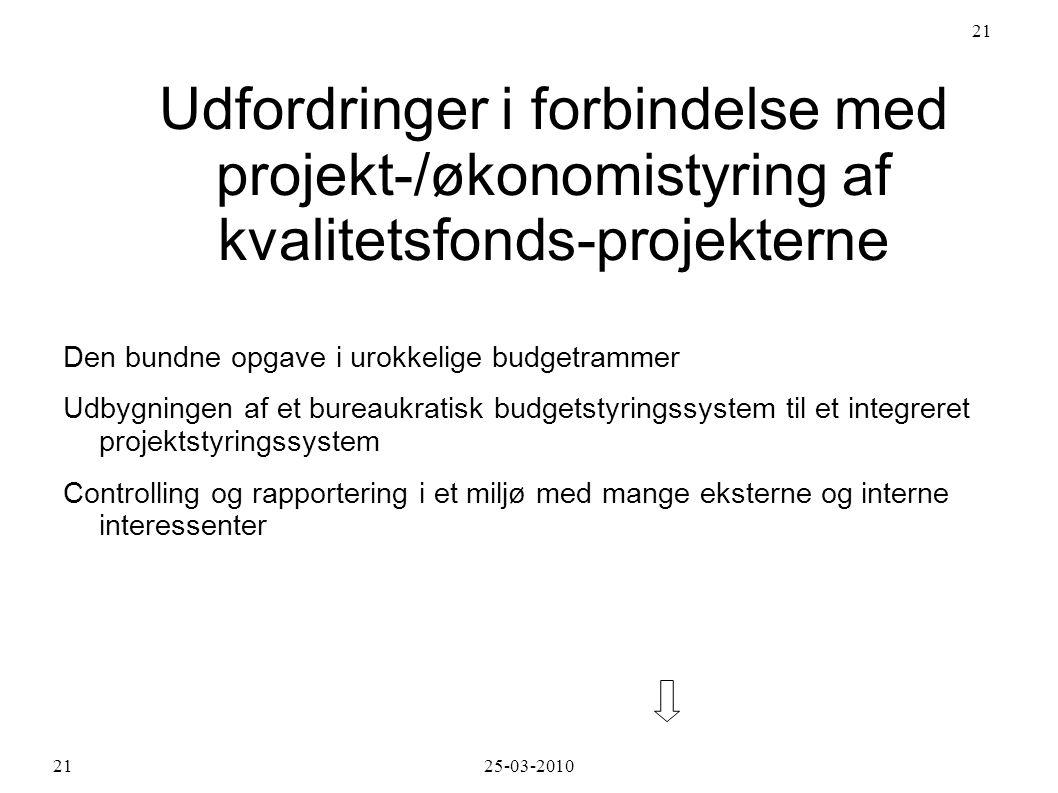 Udfordringer i forbindelse med projekt-/økonomistyring af kvalitetsfonds-projekterne