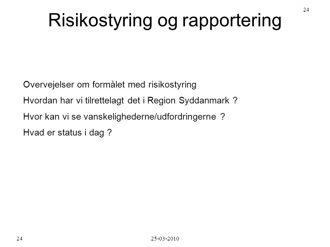 Risikostyring og rapportering