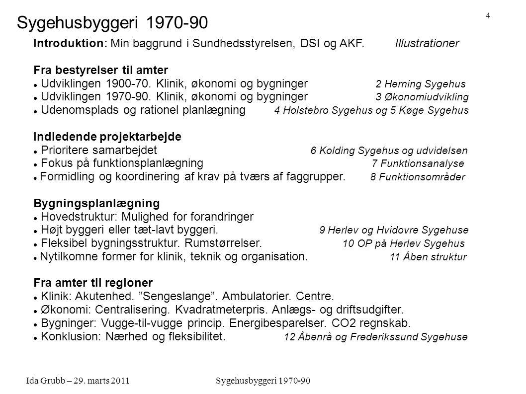 Sygehusbyggeri 1970-90 Introduktion: Min baggrund i Sundhedsstyrelsen, DSI og AKF. Illustrationer.