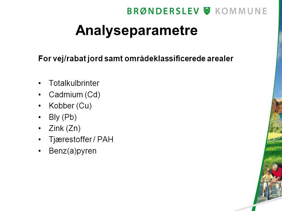 Analyseparametre For vej/rabat jord samt områdeklassificerede arealer