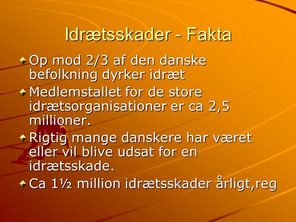 Idrætsskader - Fakta Op mod 2/3 af den danske befolkning dyrker idræt