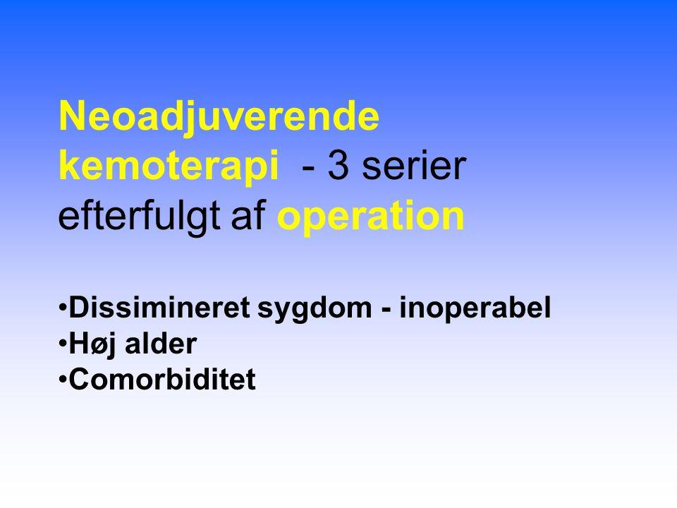 Neoadjuverende kemoterapi - 3 serier efterfulgt af operation