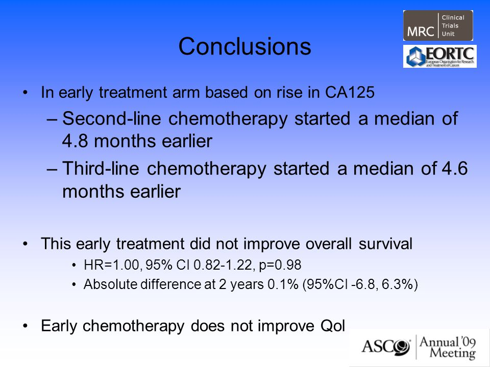Conclusions In early treatment arm based on rise in CA125. Second-line chemotherapy started a median of 4.8 months earlier.