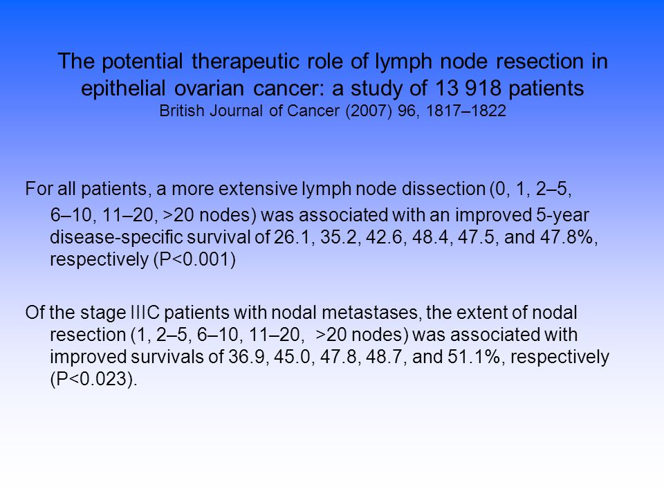 The potential therapeutic role of lymph node resection in epithelial ovarian cancer: a study of 13 918 patients British Journal of Cancer (2007) 96, 1817–1822