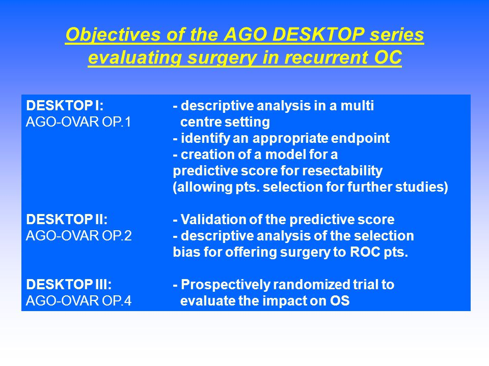 Objectives of the AGO DESKTOP series evaluating surgery in recurrent OC