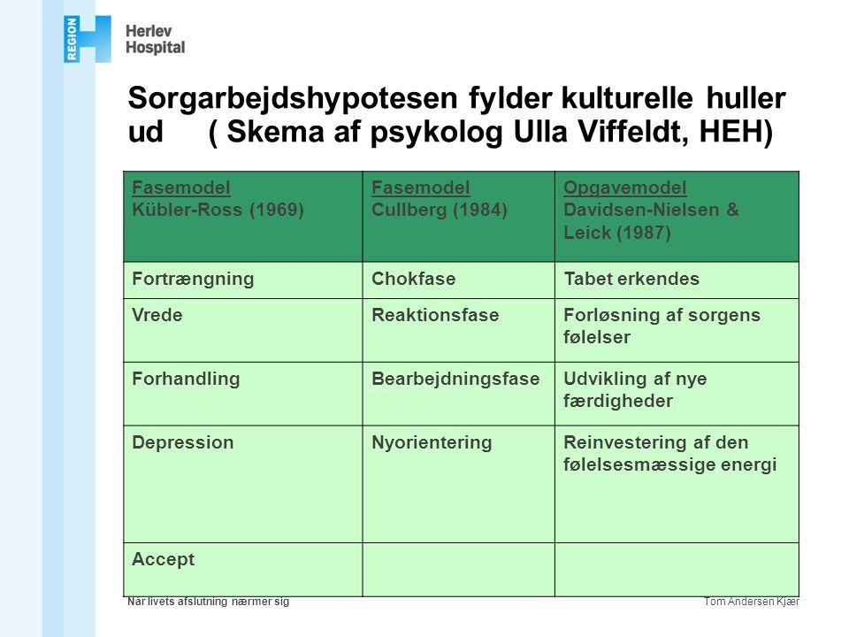 Sorgarbejdshypotesen fylder kulturelle huller ud ( Skema af psykolog Ulla Viffeldt, HEH)