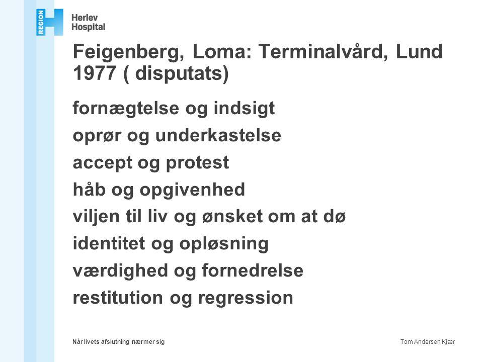 Feigenberg, Loma: Terminalvård, Lund 1977 ( disputats)