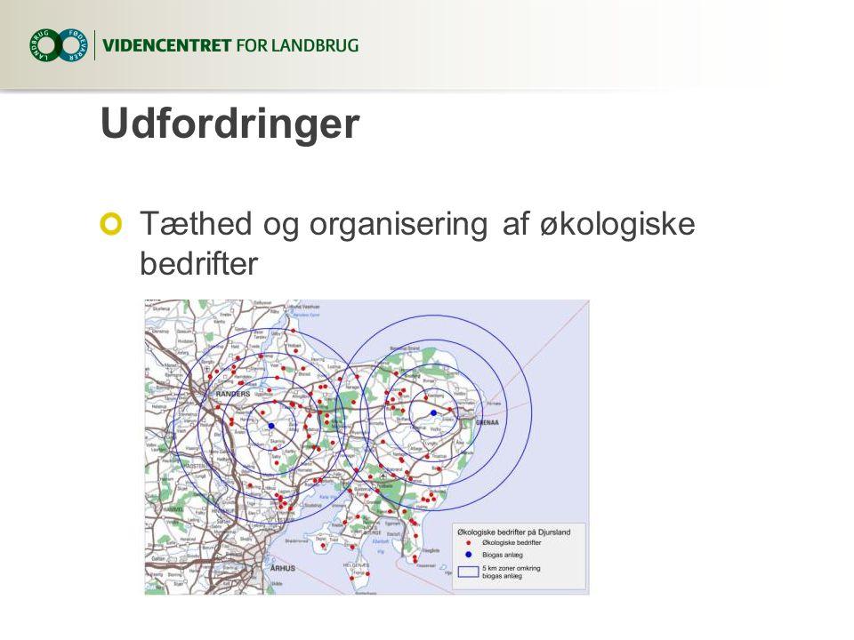 Udfordringer Tæthed og organisering af økologiske bedrifter