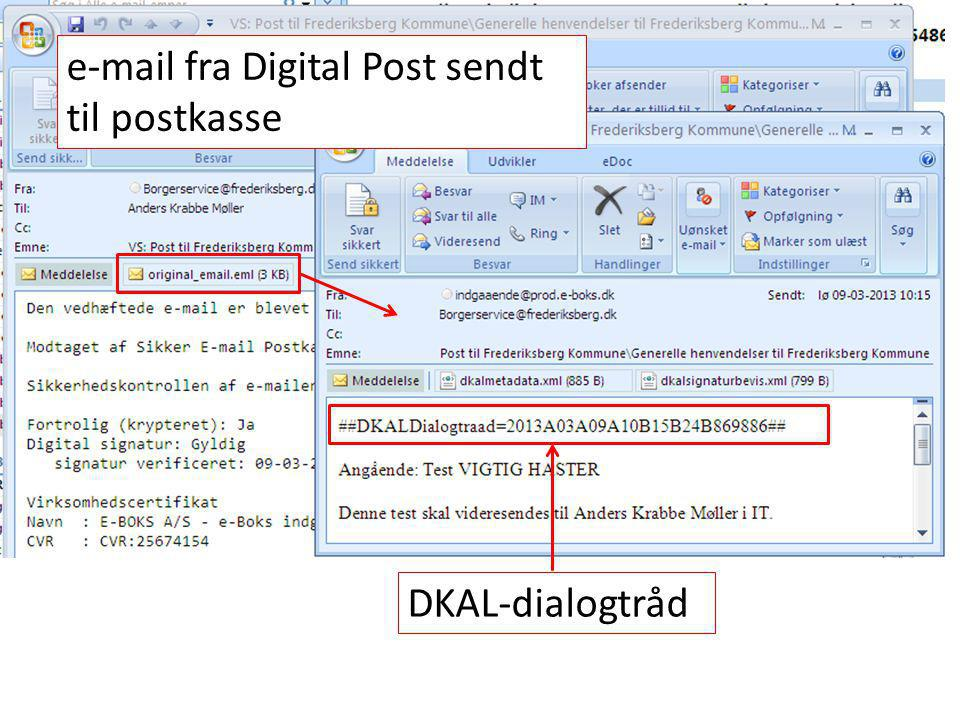 e-mail fra Digital Post sendt til postkasse