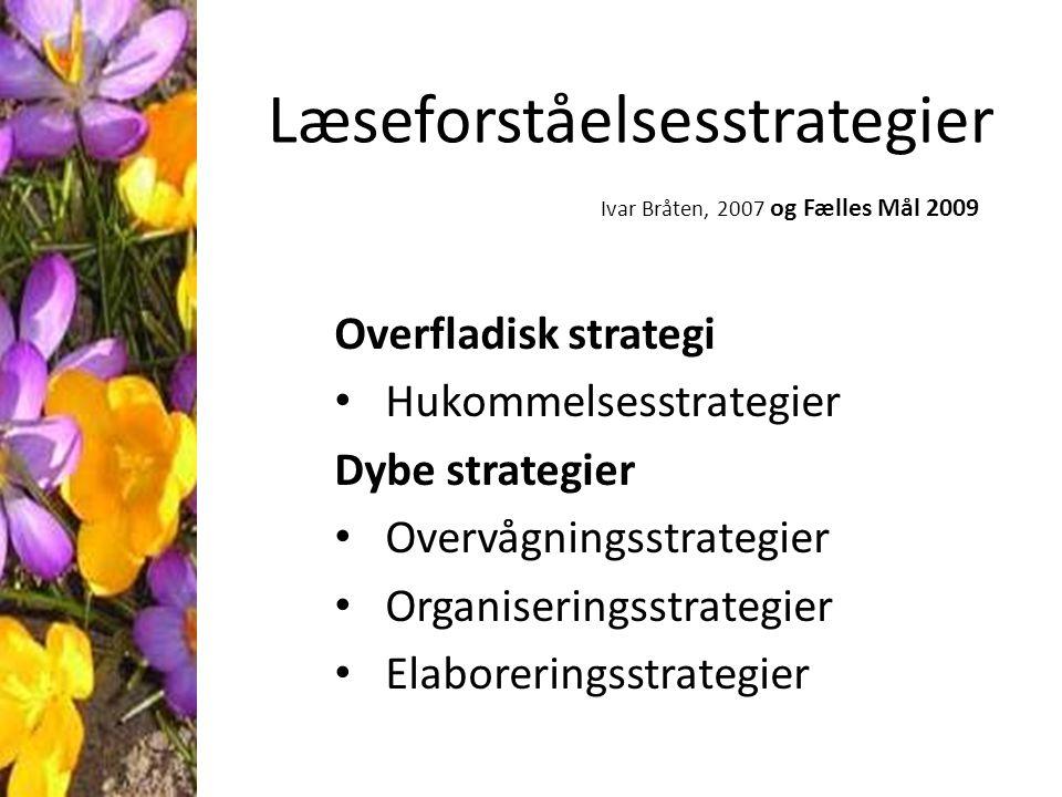 Læseforståelsesstrategier Ivar Bråten, 2007 og Fælles Mål 2009