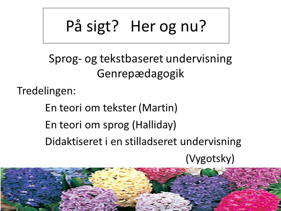 Sprog- og tekstbaseret undervisning Genrepædagogik