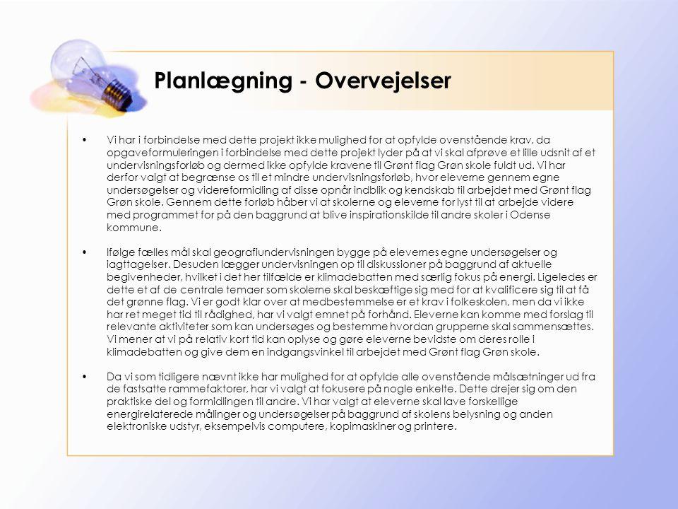 Planlægning - Overvejelser