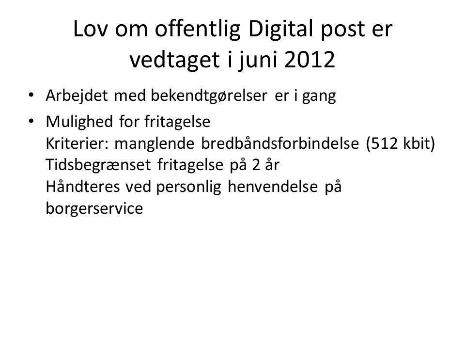 Lov om offentlig Digital post er vedtaget i juni 2012