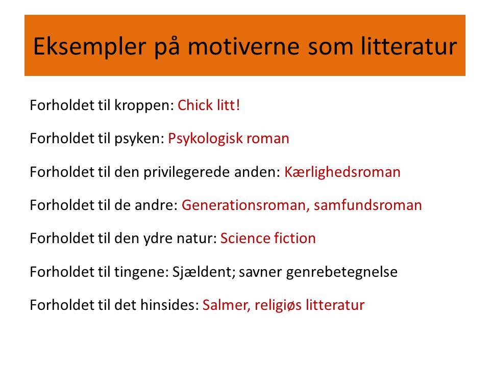 Eksempler på motiverne som litteratur