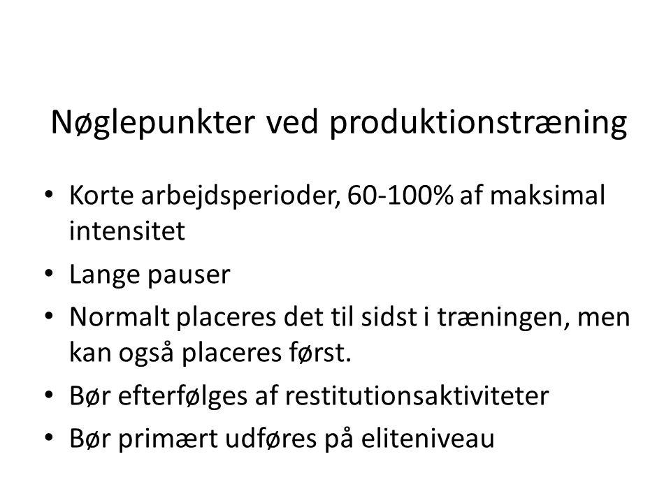 Nøglepunkter ved produktionstræning