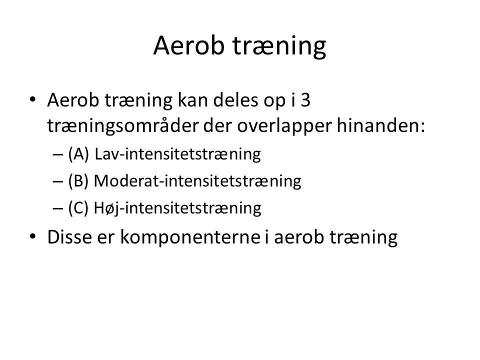 Aerob træning Aerob træning kan deles op i 3 træningsområder der overlapper hinanden: (A) Lav-intensitetstræning.