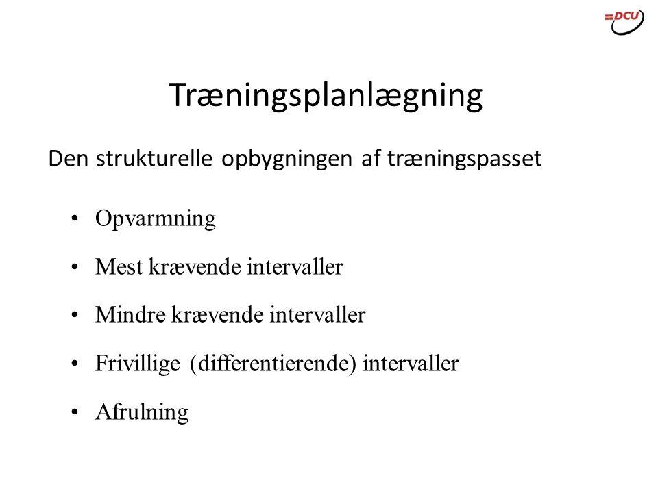 Træningsplanlægning Den strukturelle opbygningen af træningspasset