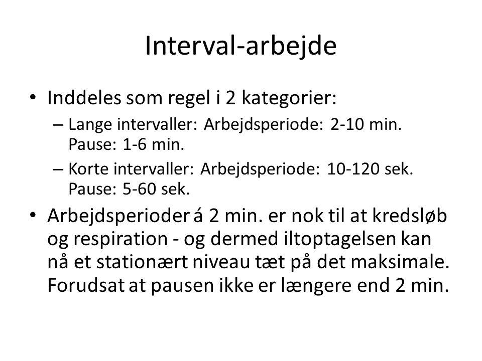 Interval-arbejde Inddeles som regel i 2 kategorier: