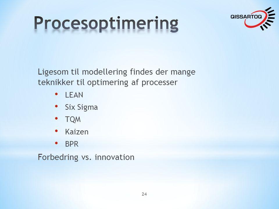 Procesoptimering Ligesom til modellering findes der mange teknikker til optimering af processer. LEAN.
