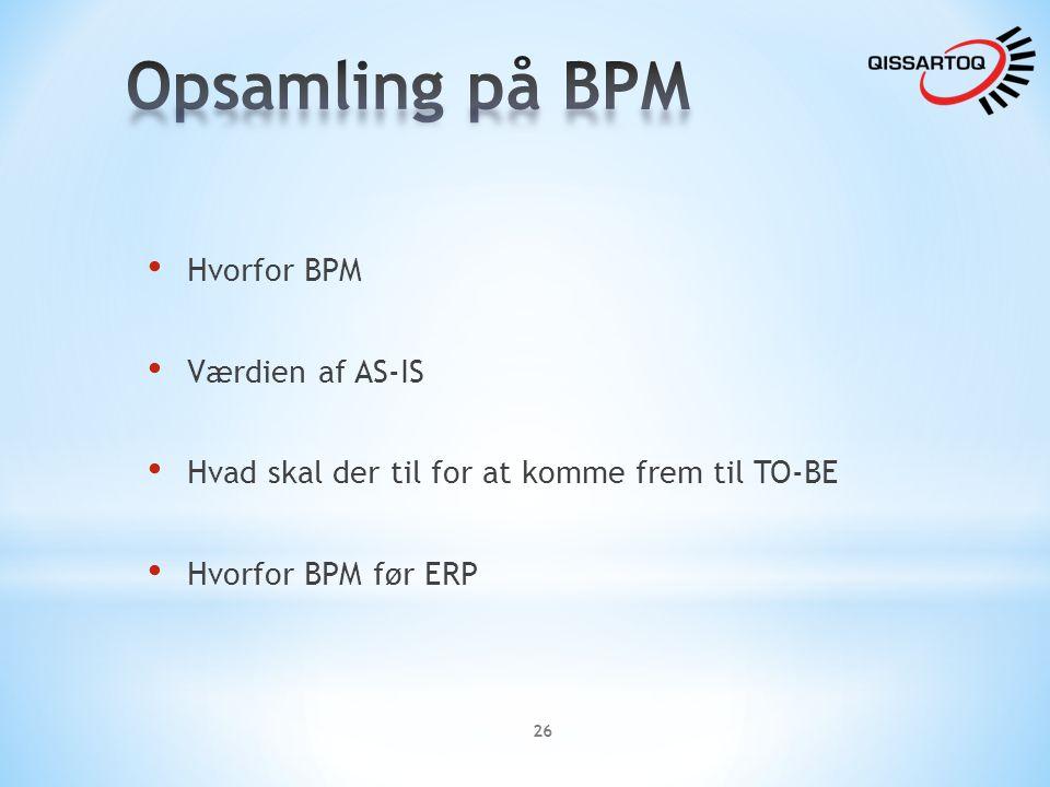 Opsamling på BPM Hvorfor BPM Værdien af AS-IS