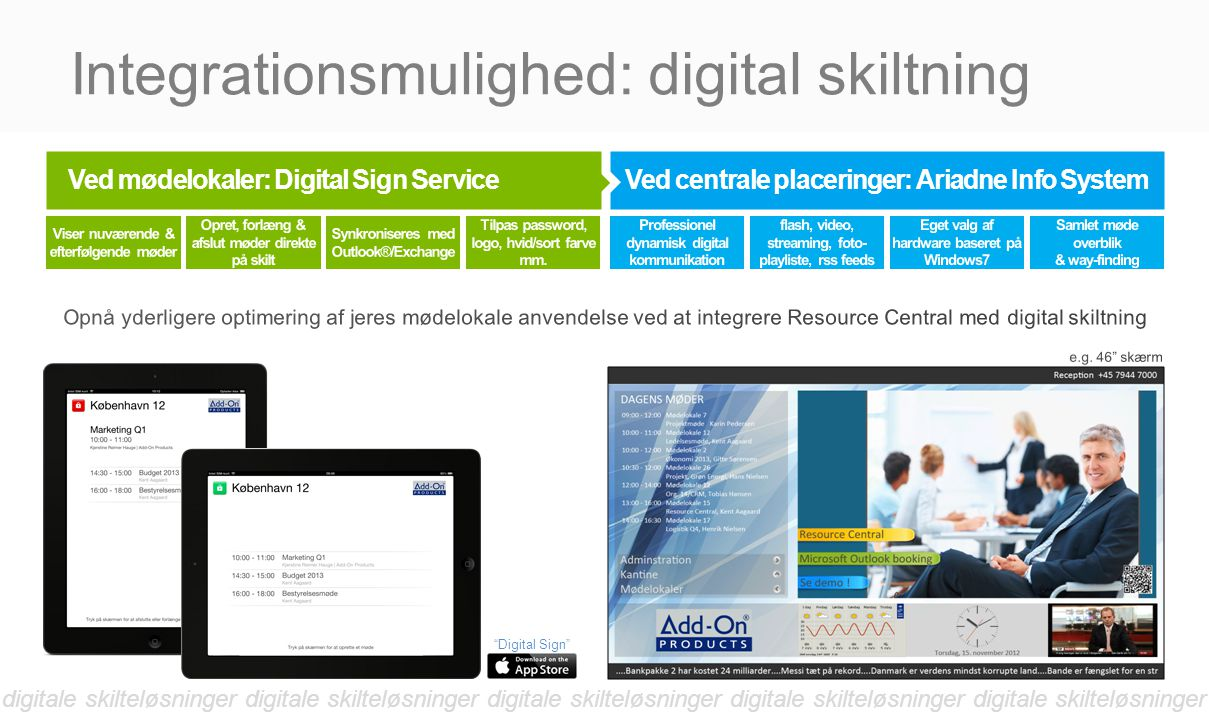 Integrationsmulighed: digital skiltning