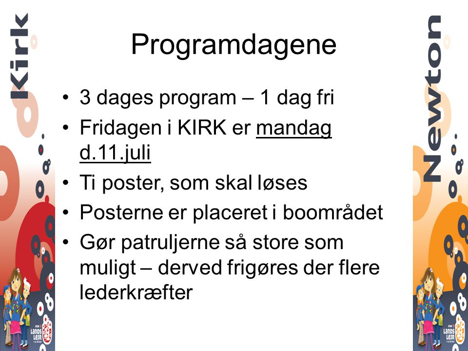 Programdagene 3 dages program – 1 dag fri