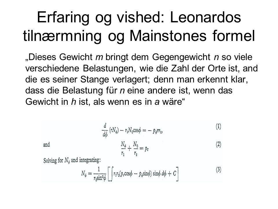 Erfaring og vished: Leonardos tilnærmning og Mainstones formel