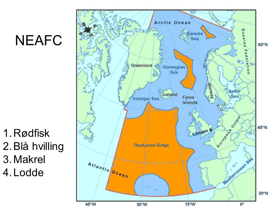 NEAFC Rødfisk Blå hvilling Makrel Lodde