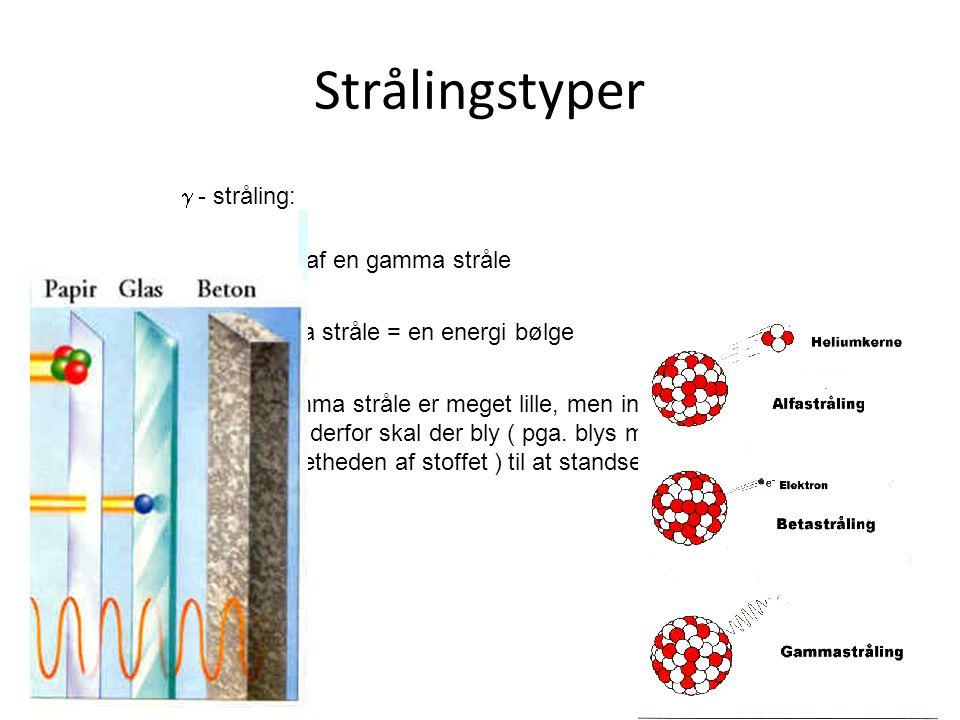 Strålingstyper  - stråling: Består af en gamma stråle