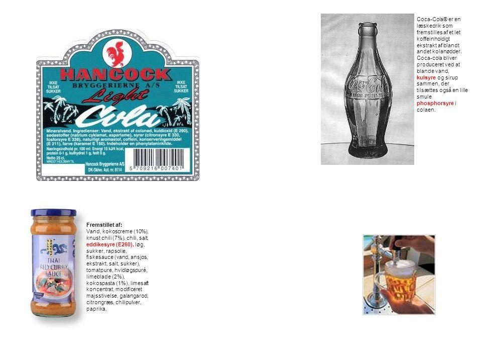 Coca-Cola® er en læskedrik som fremstilles af et let koffeinholdigt ekstrakt af blandt andet kolanødder. Coca-cola bliver produceret ved at blande vand, kulsyre og sirup sammen, der tilsættes også en lille smule phosphorsyre i colaen.
